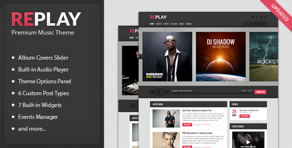 Replay v2.1 – Themeforest Responsive Music WordPress Theme