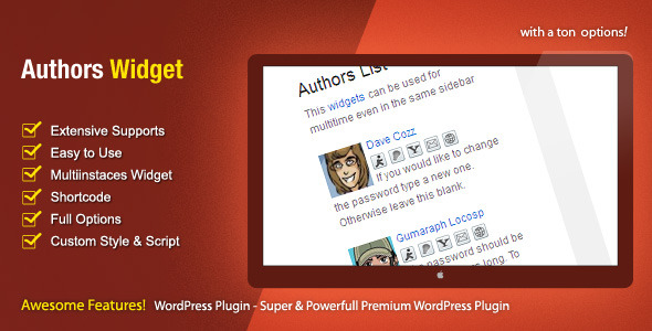 Authors Widget – WordPress Premium Plugin