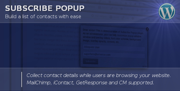 CodeCanyon – Subscribe Popup v1.31 – WordPress Plugin