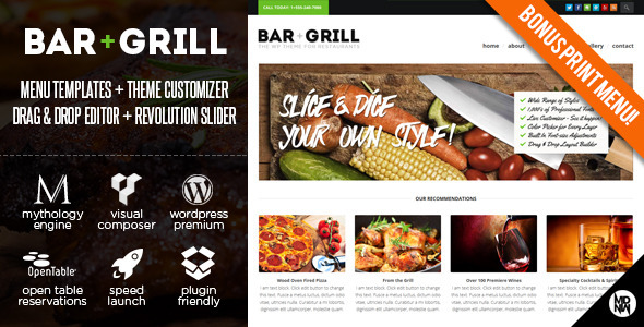 Bar + Grill WP for Restaurants & Local Businesses