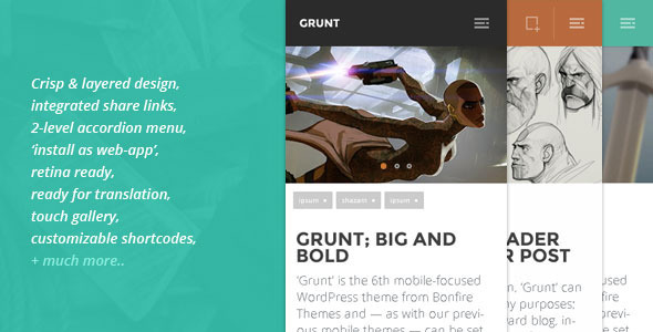 GRUNT A Big and Bold Mobile WordPress Theme