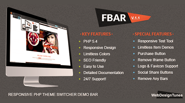 FBar – Responsive PHP Theme Switcher Demo Bar