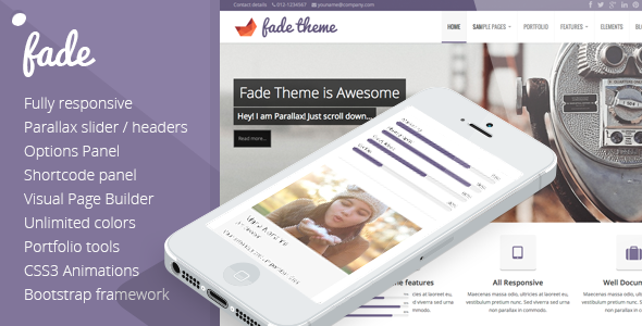 Fade – Themeforest Responsive, Parallax Bootstrap Theme