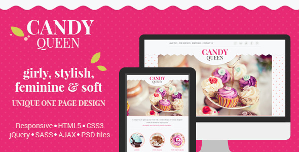 Candy Queen - Responsive One Page Portfolio